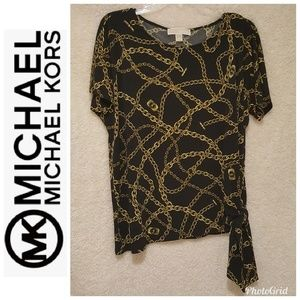 Make Offer! Michael Kors Gold Chain Tie-Hem Top